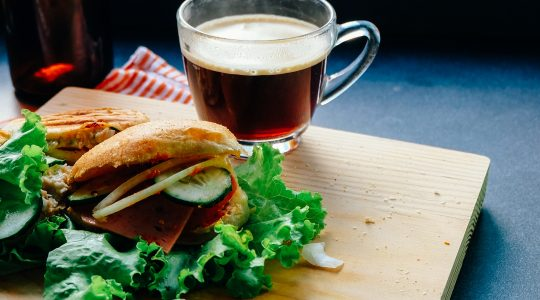 Club sandwich and coffee