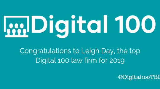 The Digital 100 winner 2019 - Leigh Day