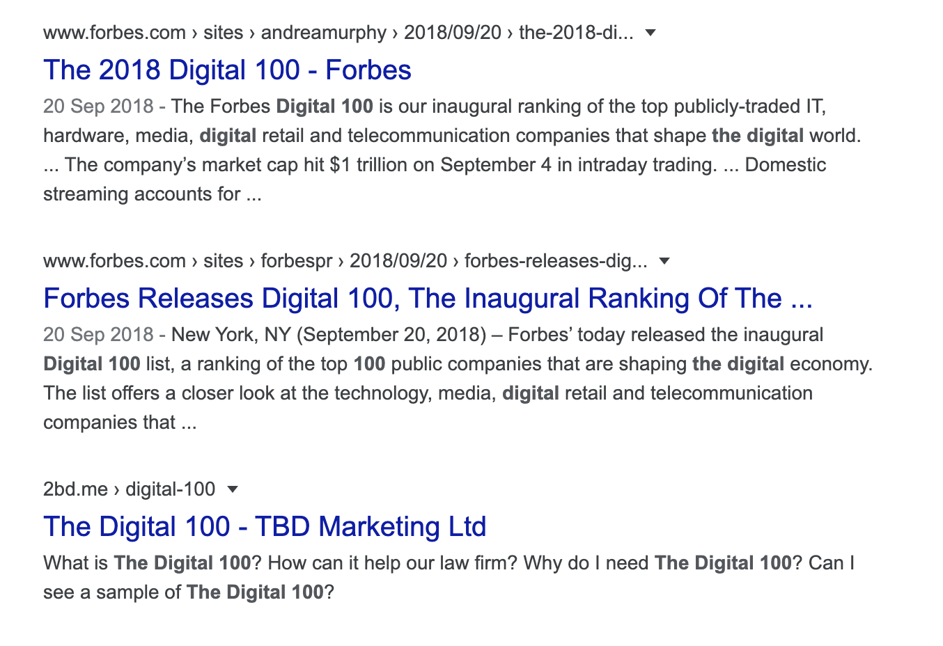 How does The Digital 100 rank on Google?