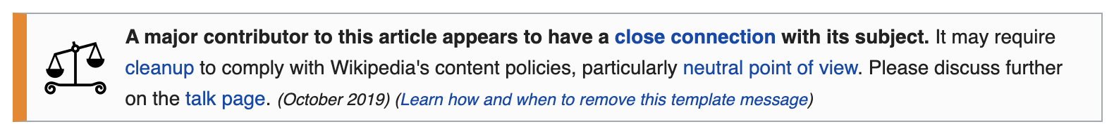 Wikipedia warning message