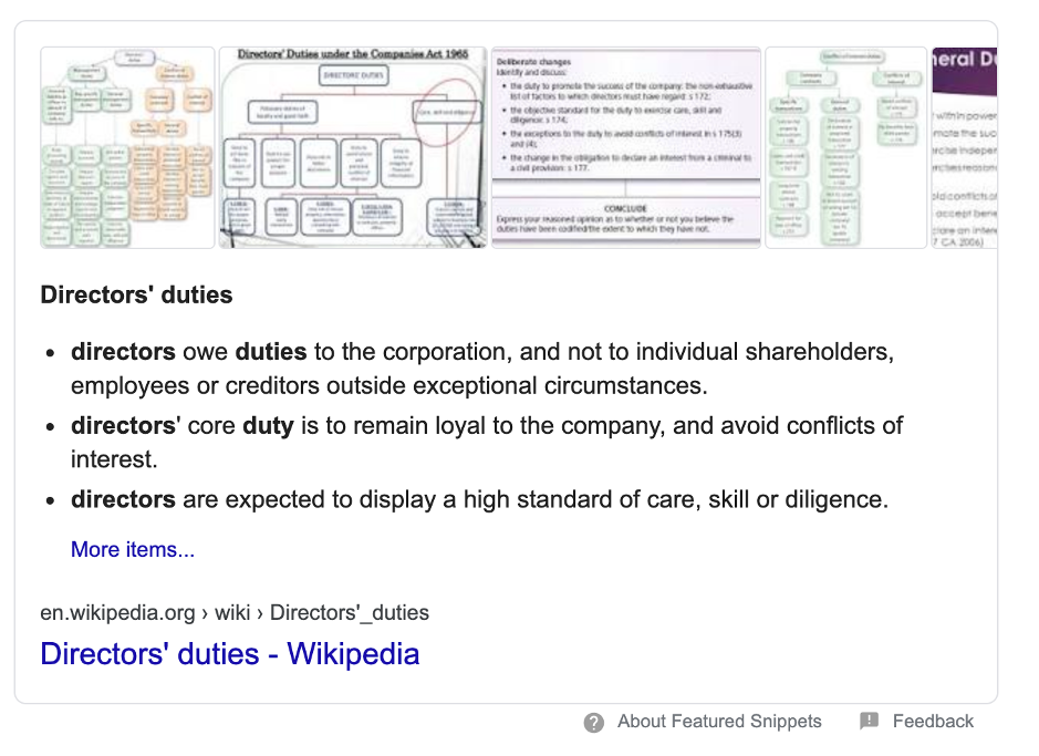 Search results for directors' duties
